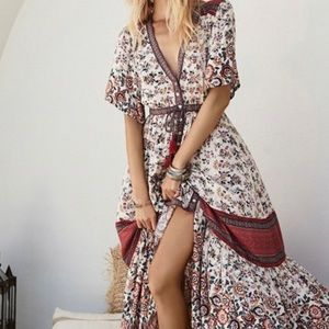 Laklook Floral Boho Button-Front Maxi Dress BNWOT